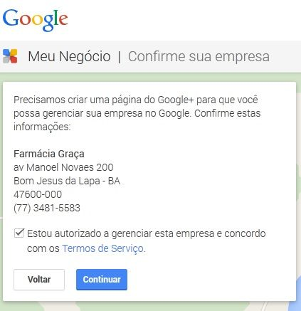 Cadastrar empresa no Google: Passo 4