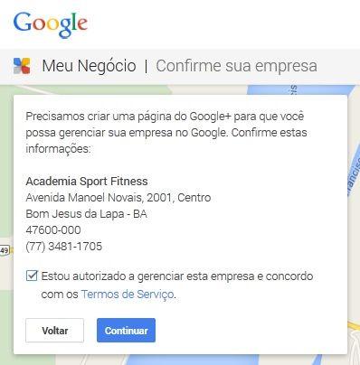 cadastrando a academia sport fitness no google