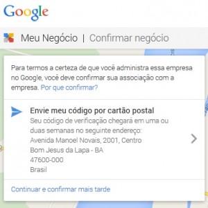finalização de cadastro de empresa no google