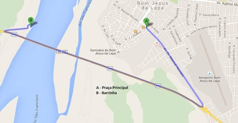 Localização da Barrinha em Bom Jesus da Lapa