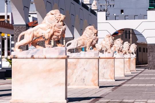 Praça da Fé e os leões da tribo de judá